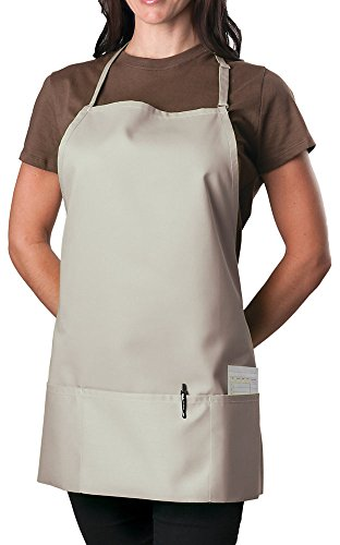 3 Pocket Adjustable Bib Apron, 27 inch, Light Taupe, pack of 60 by KNG