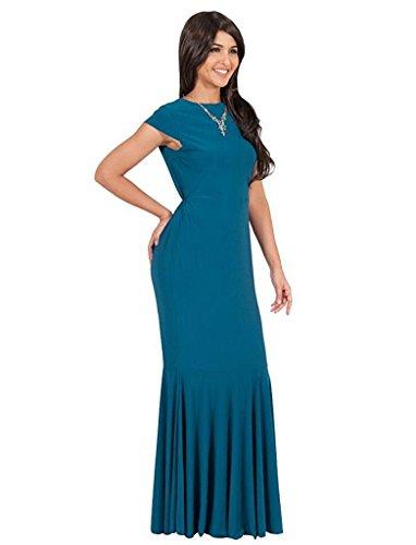 Vestido de tubo delgado de la manera de las mujeres de gran tamaño vestido de negocios Lake Blue