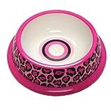 NewAgePet Paw Proof BPA-Free Plastic Pink Leopard Design Pet Dish, 10-Inch, My Pet Supplies