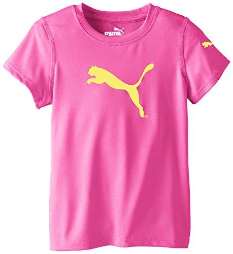 PUMA Little Girls' Short Sleeve Core Tee Shirt, Pink Glo, 6