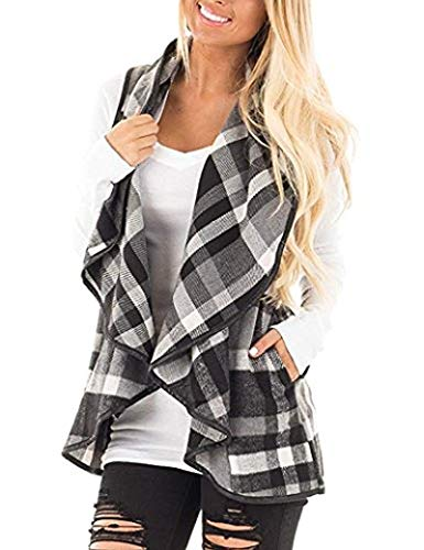 Womens Casual Lapel Open Front Plaid Vest Cardigan Coat Pockets Large S-Grey White -
