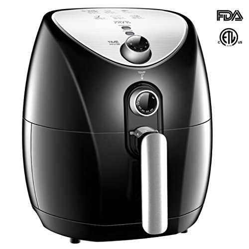 PRYTA Air Fryer, 6 in 1 Electric Hot Oil Less, Comes with 50 Recipes, Dishwasher Safe, Timer and Temperature Controls, Non-Stick Interior, 1500W, 3.4 QT Basket 4.5 QT Pot