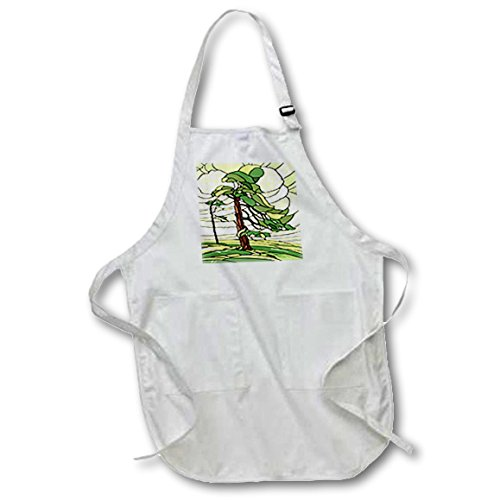 3dRose Green and Yellow Stained Glass Pine Tree Design - Medium Length Apron, 22 by 24-Inch, with Pouch Pockets ()