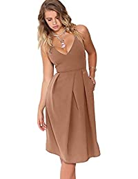 Womens Deep V Neck Adjustable Spaghetti Straps Summer Dress Sleeveless Sexy Backless Party Dresses with Pocket