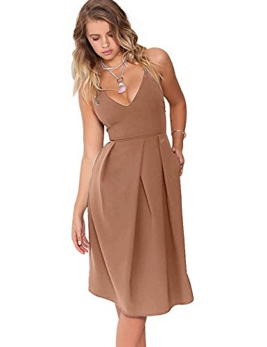 Eliacher-Womens-Deep-V-Neck-Adjustable-Spaghetti-Straps-Summer-Dress-Sleeveless-Sexy-Backless-Party-Dresses-with-Pocket-M-Mocha