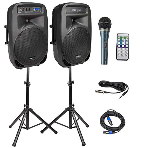 Knox Dual 15'' Speakers, 600 Watt - 8 Piece Portable PA System - Microphone, Tripods, Remote Control - Bluetooth, USB, SD Card, RCA and 1/4'' Inputs - Colorful LED Lights by Knox Gear (Image #8)