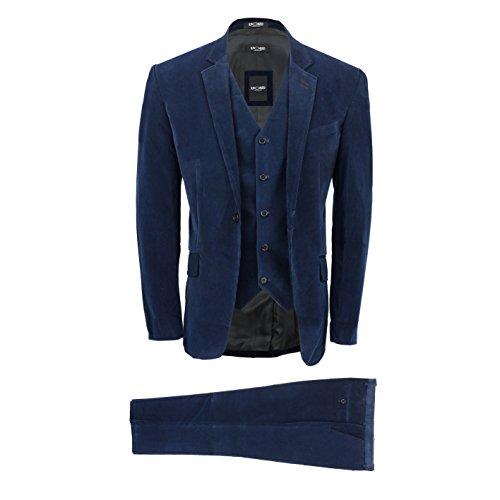 XPOSED Mens 3 Piece Navy Blue Corduroy Suit Vintage Smart Casual Tailored Fit Velvet Blazer Coat Set [Navy Blue,Chest UK 50 EU 60,Trouser 44