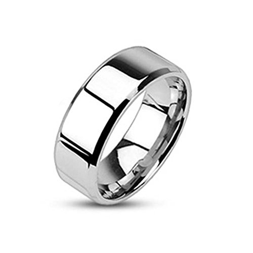 6 Mm High Gloss - Paula & Fritz Stainless Steel Ring Surgical Steel 316L silver high gloss polished 6mm wide with offset edges - Size = 53 (16.9) - [R-M0006-6-7]
