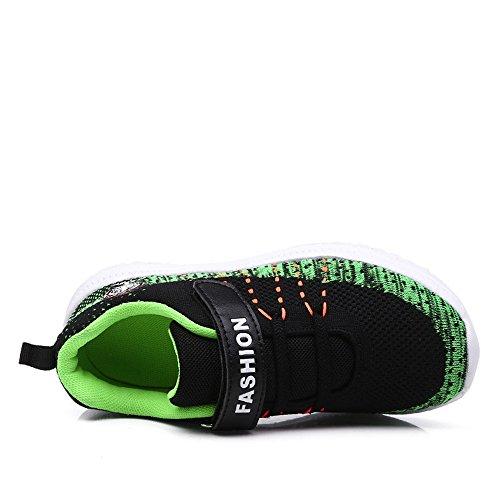 kashiwu Unisex Laufschuhe Tennis Sport Atmungsaktive Laufschuhe Green Leichte Klett Neue Freizeit Sport Dark Schuhe und 55IBxrp