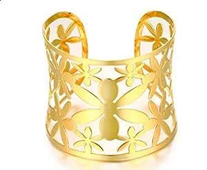 سوار للنساء عريض و ذهبي على شكل ازهار