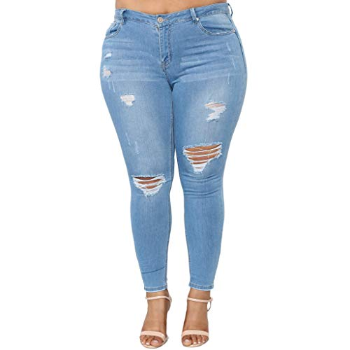 QueenMM Women's Boyfriend Jeans Distressed Slim Fit Ripped Jeans Comfy Plus Size Stretch Skinny Jeans Blue]()