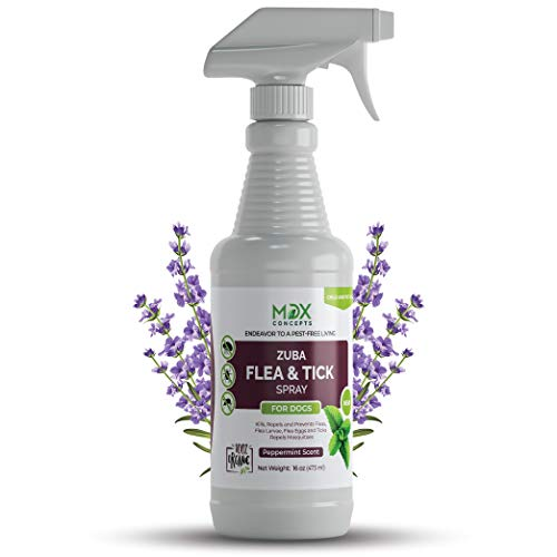 mdxconcepts Zuba Dog's Flea and Tick Control Spray - Peppermint Oil Treatment for Dogs -100% Natural -Essential Oils -Safe to Use -16 oz