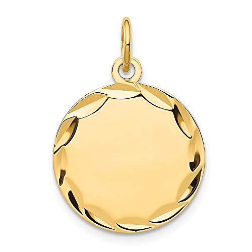14k Yellow Gold Etched .013 Gauge Engravable Round Disc Pendant Charm Necklace Fine Jewelry Gifts For Women For Her