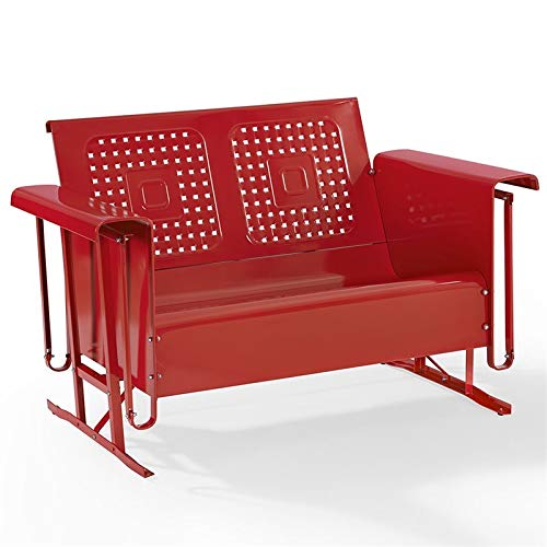 Crosley Bates Metal Gliding Patio Loveseat in Red