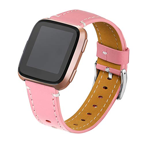 bayite Bands Compatible Fitbit Versa, Classic Genuine Leather Wristband Replacement Accessories Fitness Strap for Versa Women Men, Pink