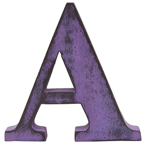 Shabby Chic Vintage Large 11 cm Wooden Letters Hand Finished Alphabets Free-Standing Or Wall Mounted D�cor for Weddings Baby Names Signs Unique Personalised Gift. (Purple, Letter A)