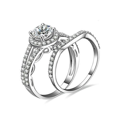 Gentlemans Titanium Diamond Set - Daesar Anniversary Rings Diamond 4-Prong Setting Round Cut Crystal Ring Set Ring Size 10