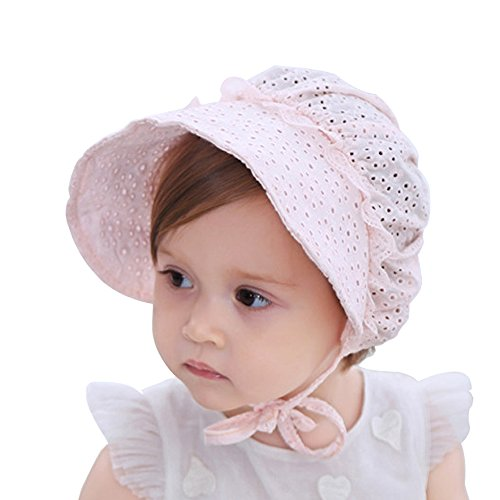My Little Baby Baby Girls Sun Hat Summer Baby Hats Fashion Hollow Sun Protection Caps Floppy Beach Hat Vacation Caps (Pink) Pink Bonnet