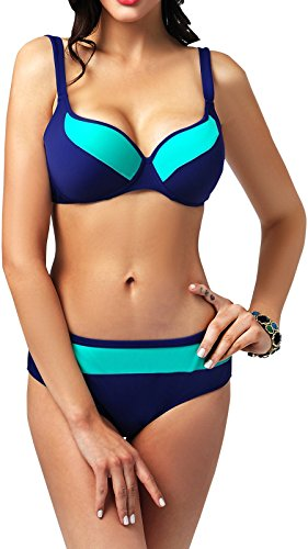 Booty Gal Women's Plus Size Hit Color Bikini Swimsuit Halter Neoprene Swimwear(SIZE XXXXL/BLUE)