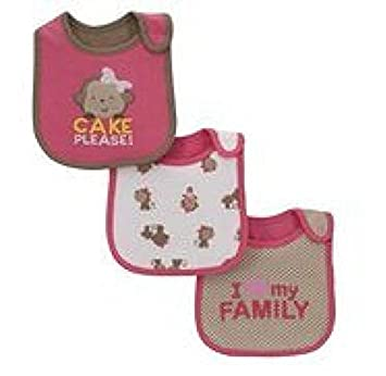 de21836e4 Amazon.com: Carters Child of Mine teething/feeding Bib ~ Set of 3 Bibs, Girl  CAKE PLEASE!...: Baby