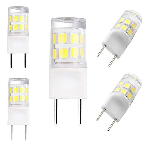 All New LED G8 Bulb, 120V,2.5 Watts.Size Design: 1.48×0.4in,G8 Base Bi-pin Xenon JCD Type LED 120V 25W Halogen Replacement Bulb for Under Counter Kitchen Light,Puck Light,Daylight White,Pack of 5
