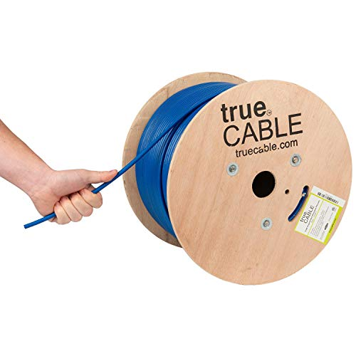(Cat6A Shielded Plenum (CMP), 1000ft, Blue, 23AWG Solid Bare Copper, 750MHz, ETL Listed, Overall Foil Shield (FTP), Bulk Ethernet Cable, trueCABLE)