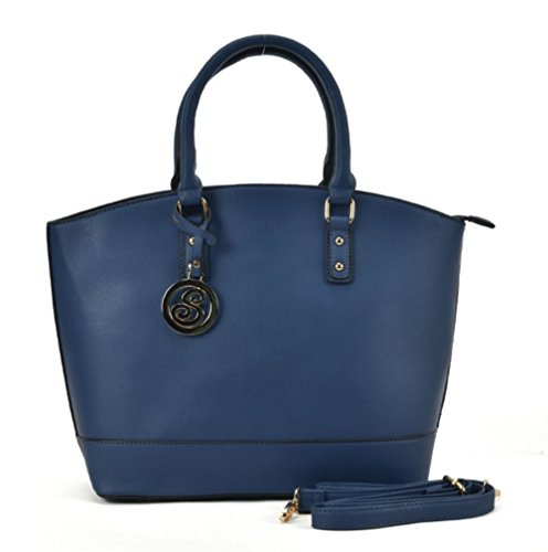 Ladies Celebrity Handbag Tote Young Fashion Sally Oversized Blue Leather Style Women Faux Large Bag qUw4ZZnfR
