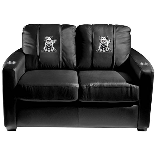 XZipit College Silver Loveseat with South Dakota Coyotes Emblem Logo Panel, Black
