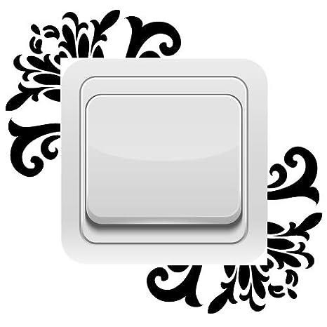 Aspect Brillant Beige Sticker Interrupteur Ornement Floral