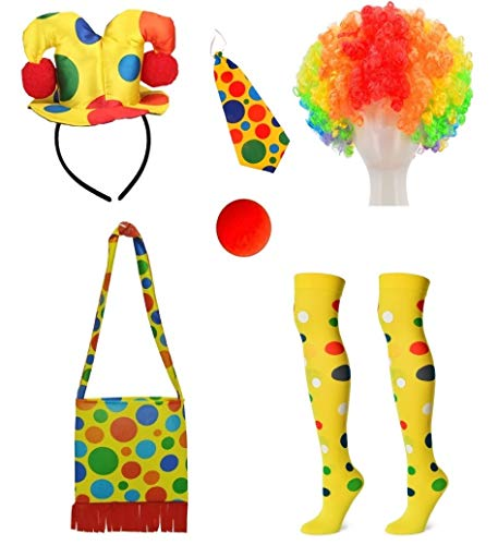 Clown Costume Hairband hat + Shoulder bag + Tie + Clown nose + Rainbow wig + Socks 6-piece set -