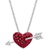 Crystaluxe Heart & Arrow Pendant Necklace with Swarovski Crystals