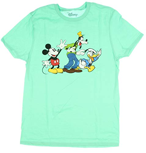 Disney Mickey Mouse Donald Duck Goofy Trio Wave Vintage Classic Licensed Adult Men's T-Shirt (Large) Mint