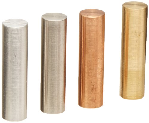 Ajax Scientific 4 Piece Metal Specific Gravity Cylinder Set, 13mm Diameter x 50mm Length