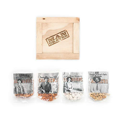 Man Crates Saloon Nuts Mini Crate - Flavorful Food Gift For Men - Includes Butter Toffee Almonds, Jalapeño Garlic Cashews and More - Ships In A Sealed Wooden Crate With A Laser-Etched Crowbar by Man Crates (Image #2)