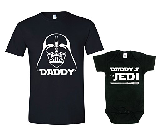 Texas Tees Daddys Jedi Dad Son Matching Shirt, Star Wars Inspired T Shirt,Darth & Jedi - Black,Mens (Large) & 0-3 -