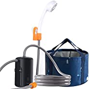 Portable Camping Shower Set, Built-in 4400mAh,USB Rechargeable Waterproof Battery Shower Pump+Collapsible Buck
