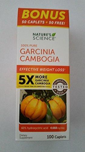 Nature's Science 100% Pure Garcinia Cambogia Bonus Value Size Bottle 100 Ct Caplets (2)