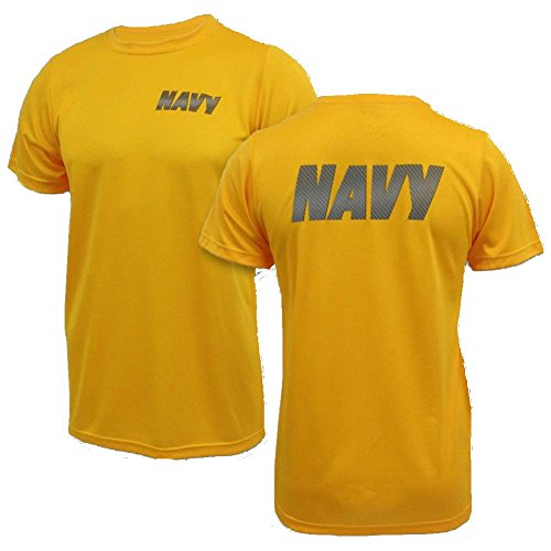 Authentic GI US Navy Originals Gold PT Shirt with Navy Reflective Front and Back, Perfect for Jogging and Exercise (1, Medium)