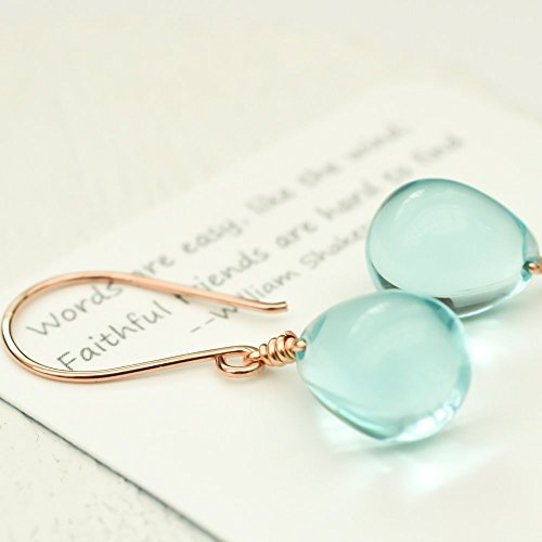 Sky blue earrings glass drop 14kt rose gold-filled (Made Outfit)