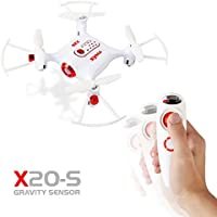 LeaningTech x Syma X20-S 2.4G 4CH 6-aixs Gyro Gravity Sensor Pocket Drone RC Quacopter, Single Hand Gravity Control, with Altitude Hold One Key Take-off / Landing Function, 3D ROLL