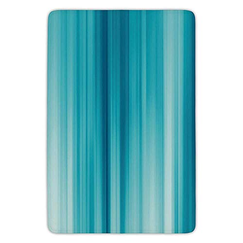 (Bathroom Bath Rug Kitchen Floor Mat Carpet,Light Blue,Abstract Blurred Vertical Stripes Digital Effect Futuristic Ombre Energetic,Blue Light Blue,Flannel Microfiber Non-Slip Soft Absorbent)
