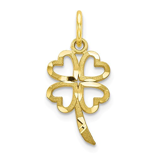10k Yellow Gold Shamrock Pendant Charm Necklace Good Luck Italian Horn Fine Jewelry Gifts For Women For Her