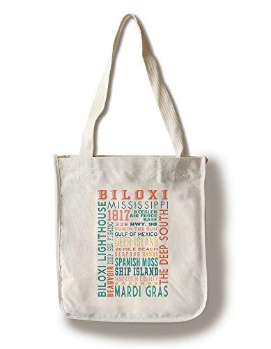Biloxi, Mississippi - Typography (100% Cotton Tote Bag - - Biloxi Mississippi Shopping