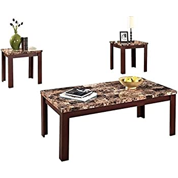 acme furniture 3 piece finely coffeeend table set light brown faux marble u0026 cherry