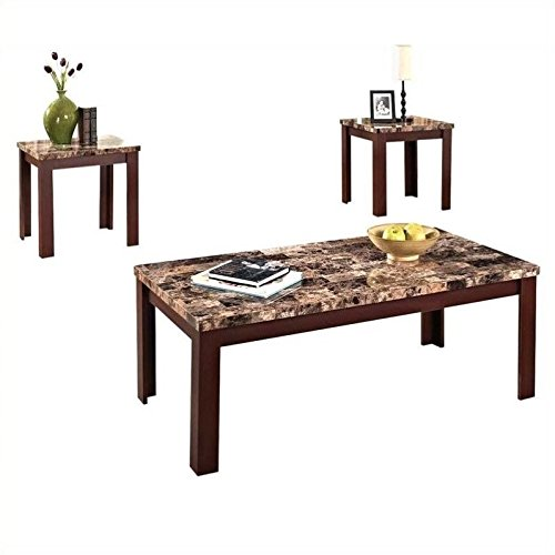 ACME Furniture 80319 3 Piece Finely Coffee/End Table Set, Light Brown Faux Marble & Cherry (End Tables And Coffee Table Sets)