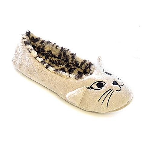 Womens/Ladies Velour Cat Design Ballet Slippers (9-10 US) (Cream/Leopard)