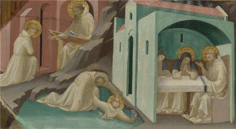fan products of High Quality Polyster Canvas ,the Imitations Art DecorativePrints On Canvas Of Oil Painting 'Lorenzo Monaco-Incidents In The Life Of Saint Benedict,1407-9', 24x44 Inch / 61x111 Cm Is Best For Powder Room Gallery Art And Home Gallery Art And Gifts