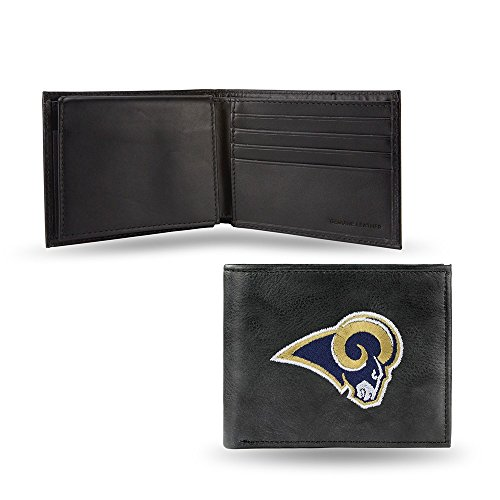 Rico Sporting Goods 138807 Los Angeles Rams Mens Black Leather Bi-fold Wallet (Rams Wallet)