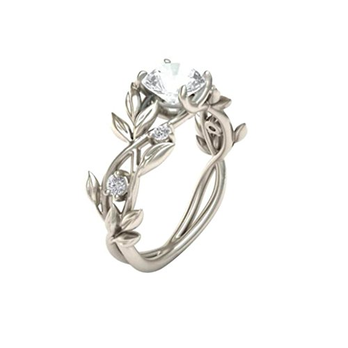 Clearance Floral Rings ODGear Women Silver Transparent Flower Vine Leaf Ring Wedding Gift Engagement Diamond (US 7, White) - Cut Garnet Filigree