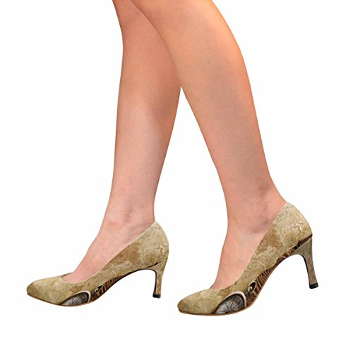 Interestprint Mujeres Classic Fashion High Heel Dress Pump Vista De Primer Plano Compass Paper And Wooden Board